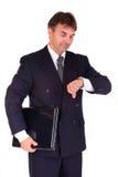 Businessman holding laptop Stock Photo