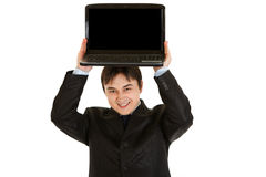 Businessman holding laptop with blank screen Stock Photography