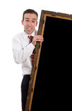 Businessman Holding Large Frame Stock Photography