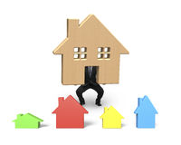 Businessman holding lifting wooden house up Stock Photos