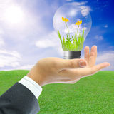 Businessman holding light bulb Stock Photography