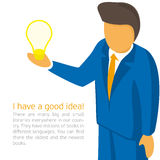 Businessman holding a light bulb. Vector illustrations with space for text - businessman tells a brilliant idea. Male businessman discusses his idea Royalty Free Stock Photography