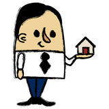 Businessman holding a little house Stock Photo
