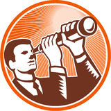 Businessman Holding Looking Telescope Woodcut Stock Photography