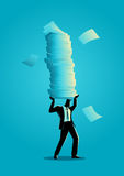 Businessman holding a lot of documents Stock Photography