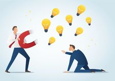 Businessman holding magnet attract light bulbs steal work from colleague, plagiarism vector illustration Stock Images