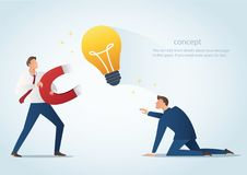 Businessman holding magnet attract light bulbs steal work from colleague, plagiarism vector illustration Stock Photos