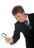 Businessman Holding Magnifying Glass Royalty Free Stock Photo