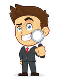 Businessman Holding a Magnifying Glass. Clipart Picture of a Male Businessman Cartoon Character Holding a Magnifying Glass Stock Images