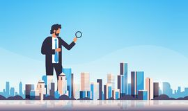 Businessman holding magnifying glass search concept over big modern city building skyscraper cityscape skyline flat stock illustration
