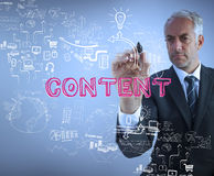 Businessman holding a marker and writing the word content Royalty Free Stock Image