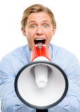 Businessman holding megaphone isolated on white background Royalty Free Stock Images