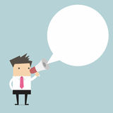 Businessman holding megaphone with speech bubble for text. Vector Royalty Free Stock Photography