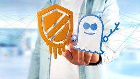 Businessman holding a Meltdown and Spectre processor attack with. View of a Businessman holding a Meltdown and Spectre processor attack with network connection Royalty Free Stock Photos