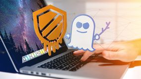 Businessman holding a Meltdown and Spectre processor attack with. View of a Businessman holding a Meltdown and Spectre processor attack with network connection Royalty Free Stock Image