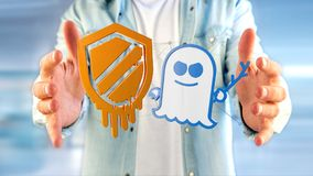 Businessman holding a Meltdown and Spectre processor attack with. View of a Businessman holding a Meltdown and Spectre processor attack with network connection Stock Images