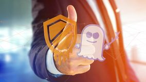 Businessman holding a Meltdown and Spectre processor attack with. View of a Businessman holding a Meltdown and Spectre processor attack with network connection Stock Photos