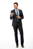 businessman holding mobile phone and credit card Stock Photography