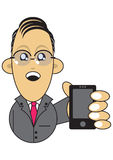 Businessman holding mobile phone illustration Royalty Free Stock Photography