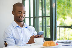 Free Businessman Holding Mobile Phone In Restaurant Stock Photos - 89676313