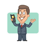 Businessman holding mobile phone and shows ok Stock Photo