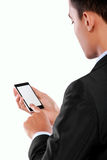 Businessman holding mobile smart phone with blank screen Stock Photos