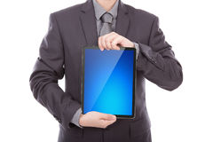 Businessman holding the modern digital tablet pc Royalty Free Stock Image