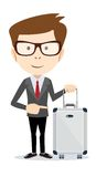 Businessman holding modern suitcase with wheels. Flat style Stock Photos