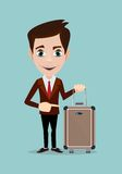 Businessman holding modern suitcase with wheels. Royalty Free Stock Photos