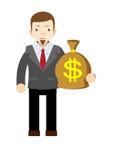 Businessman holding money bag Stock Photos