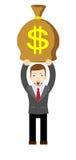 Businessman holding money bag. Stock Photo
