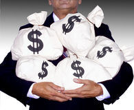 MONEY BAGS-WEALTH SUCCESS FINANCIAL PLANNING WEALTH MANAGEMENT RETIREMENT. On the Road to Financial Wealth with Businessman Holding Money Bags Saving for Royalty Free Stock Image