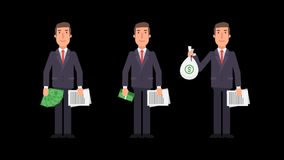 Businessman holding money and documents. Alpha channel. Motion graphics. Animation video stock video footage