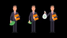 Businessman holding money folder and smiling. Alpha channel. Motion graphics. Animation video stock video