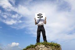 Businessman holding money mark Royalty Free Stock Images