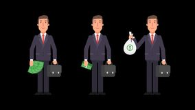 Businessman holding money suitcase and smiling. Alpha channel. Motion graphics. Animation video stock video footage