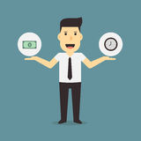 Businessman holding money and time. Vector Stock Image