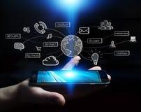 Businessman holding multimedia network 3D rendering Stock Images