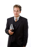 Businessman holding notebook Stock Photo