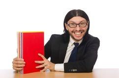 The businessman holding notebooks  on white Stock Image