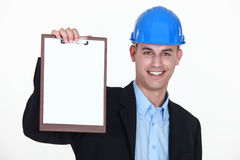 Businessman holding a notepad Stock Photo