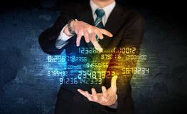Businessman holding number cloud Royalty Free Stock Images