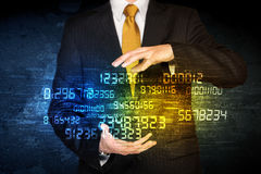 Businessman holding number cloud Stock Photography
