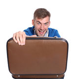 Businessman holding open briefcase in hands Royalty Free Stock Photos