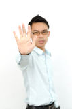 Businessman holding out his hand to show 'stop! Royalty Free Stock Images