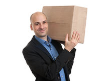 Businessman holding a package parcel Stock Images