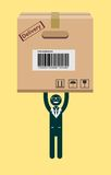 Businessman holding a package. Vector Stock Photo