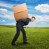 Businessman holding packages on the back Stock Image