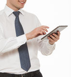 Businessman holding a pad Royalty Free Stock Photo