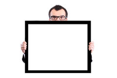 Businessman holding panel Stock Photography